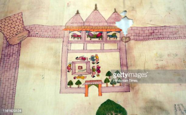 An old dilapidated map of Ayodhya depicting the birthplace of Lord Rama being taken out from archives of erstwhile royal family of Jaipur at City...