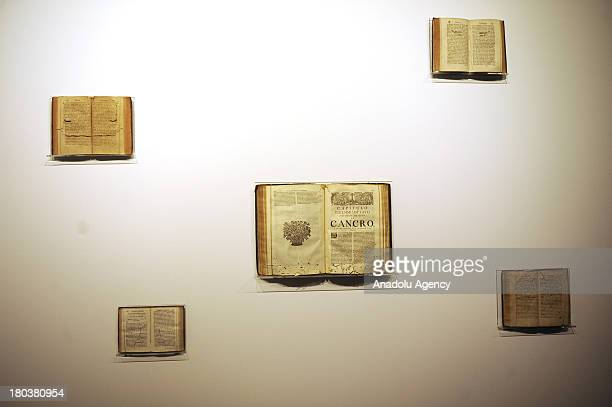 An old edition book concerning CANCRO on display within the 13th Istanbul biennial on September 11 2013 in IstanbulTurkey The 13th Istanbul Biennial...