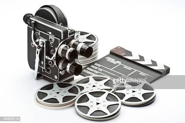 An old fashioned movie camera with reels and a take counter
