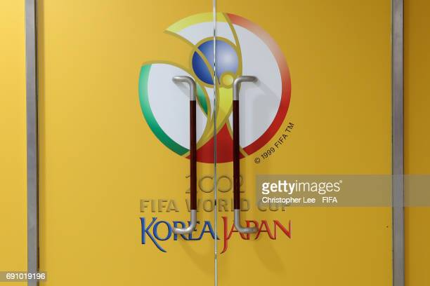 An old FIFA World Cup 2002 Korea and Japan logo is seen on a door during the FIFA U20 World Cup Korea Republic 2017 Round of 16 match between Zambia...