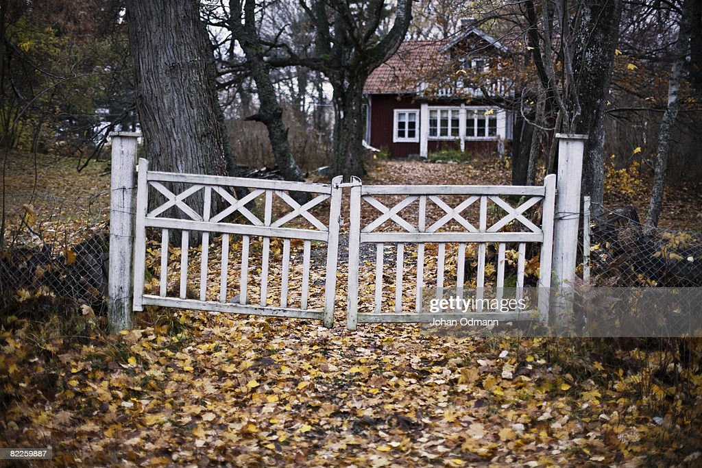 An old gate in front of a house Gotland Sweden. : Stock Photo