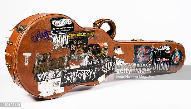 An old leather guitar case covered in band stickers photographed during a studio shoot for Metal Hammer Magazine/Future via Getty Images July 9 2012