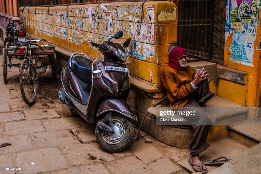 An Old Man At Varanasi Street : Stock Photo