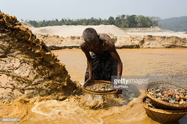 An old man is working at the stone mine in Jaflong Sylhet Bangladesh on March 18 2016