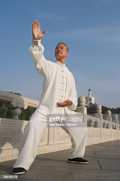 An old man practices Chinese martial arts
