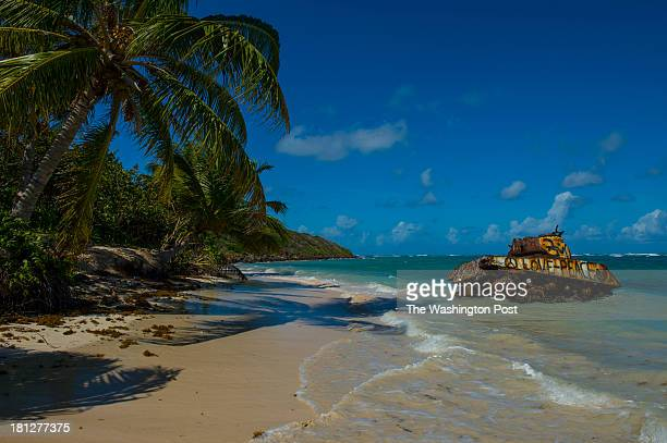 An old military tank once used as target practice for the Navy sits in the sand at Flamenco Beach on December 6 2012 in Culebra PR Culebra is an...