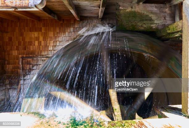 An old millwheel in the historic center on April 19 2015 in Salzburg Austria