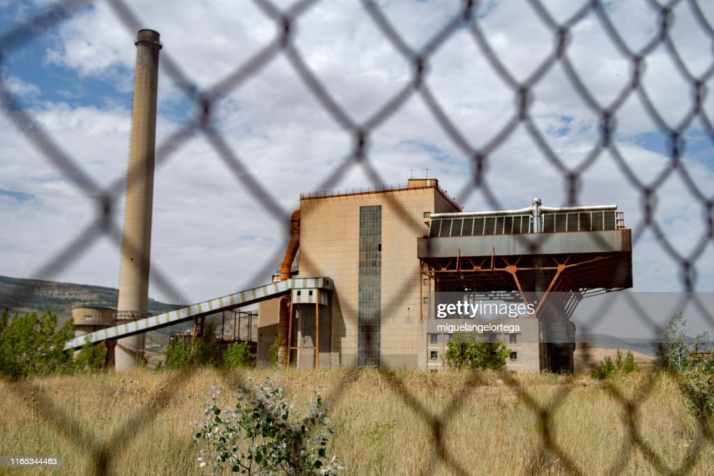 An Old Mining Construction Behind A Torsion Mesh Teruel Spain Stock