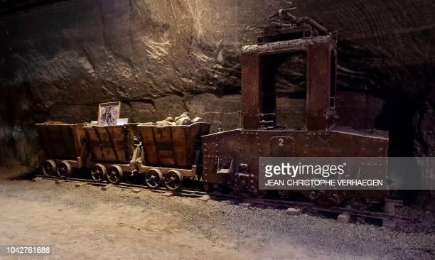 An old mining machine is pictured at the site salt mine of Les Salins du Midi and Les Salines de l'Est on September 26 2018 in Varangéville eastern...
