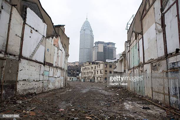 An old neighborhood in the process of being demolished, in order to make room for more modern buildings, in the Pudong area of Shanghai, China.