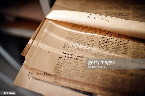 An old newspaper cutting is seen in Pineheath house on September 4 2013 in Harrogate England The untouched 40bedroom house belonged to wealthy...
