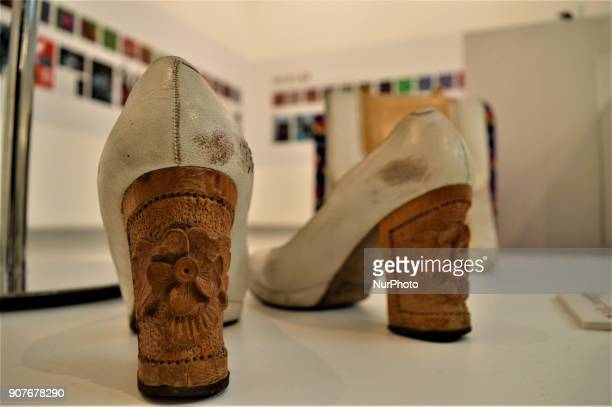 An old pair of shoes is seen as a part of the 'Dressing A Nation Sumerbank Patterns Between the Years of 19562000' Exhibition in Ankara Turkey on...