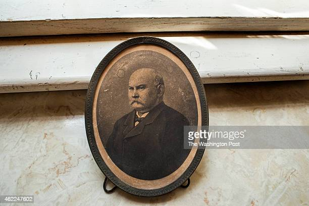 An old photograph of Gov Oden Bowie Maryland's 34th governor adorns the kitchen window of the mansion where he grew up on May 23 2014 in Bowie...