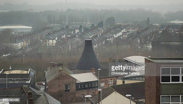 An old pottery kiln looms above the rooftops in Hanley on January 19 2017 in StokeonTrent England The StokeOnTrent central byelection has been called...