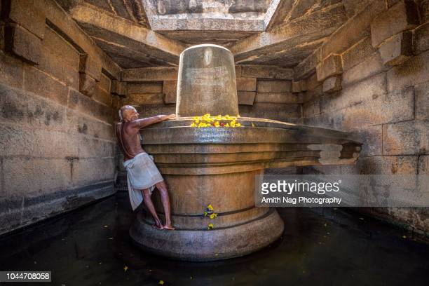 an old priest decorates the idol at badavi linga temple - shiva stock pictures, royalty-free photos & images