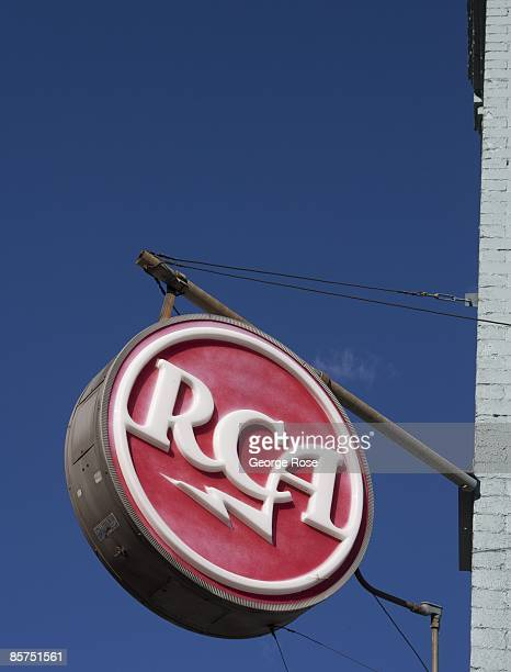 An old RCA electronics neon sign is viewed in this 2009 Denver Colorado spring city landscape photo