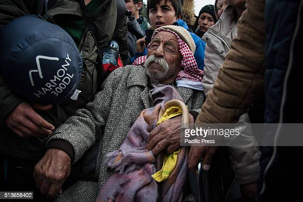 An old refugee at the camp of Idomeni The transit camp at the border is becoming increasingly overcrowded as thousands of refugees continue to arrive...