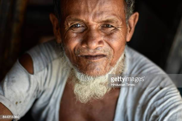 An old Rohingya Muslim man in ghettoized camp at Kanchan Kunj on September 6 2017 in New Delhi India Victims of a genocide in their native land of...