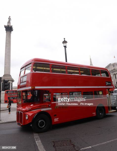 An old Routemaster bus is seen in Trafalgar Square London as extra buses were brought in on the first day of a 48 hour strike by tube workers on the...