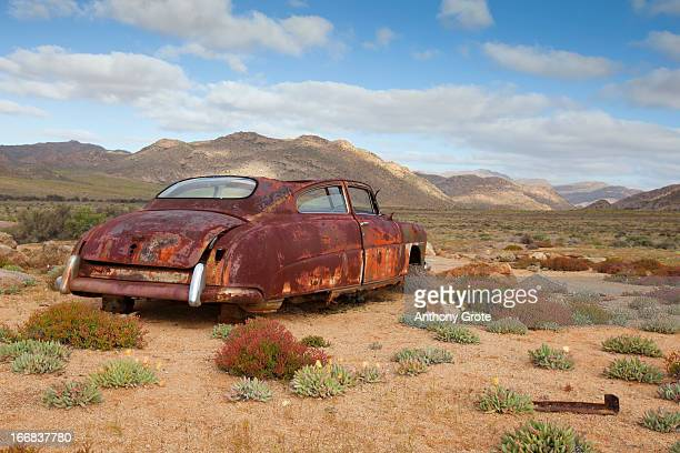 an old rusted car lies derelict in amongst short scrubby bushes, south africa - the karoo stock photos and pictures