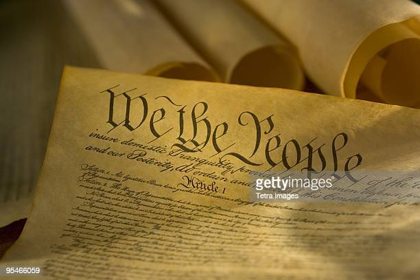 An old scroll that reads: We the People