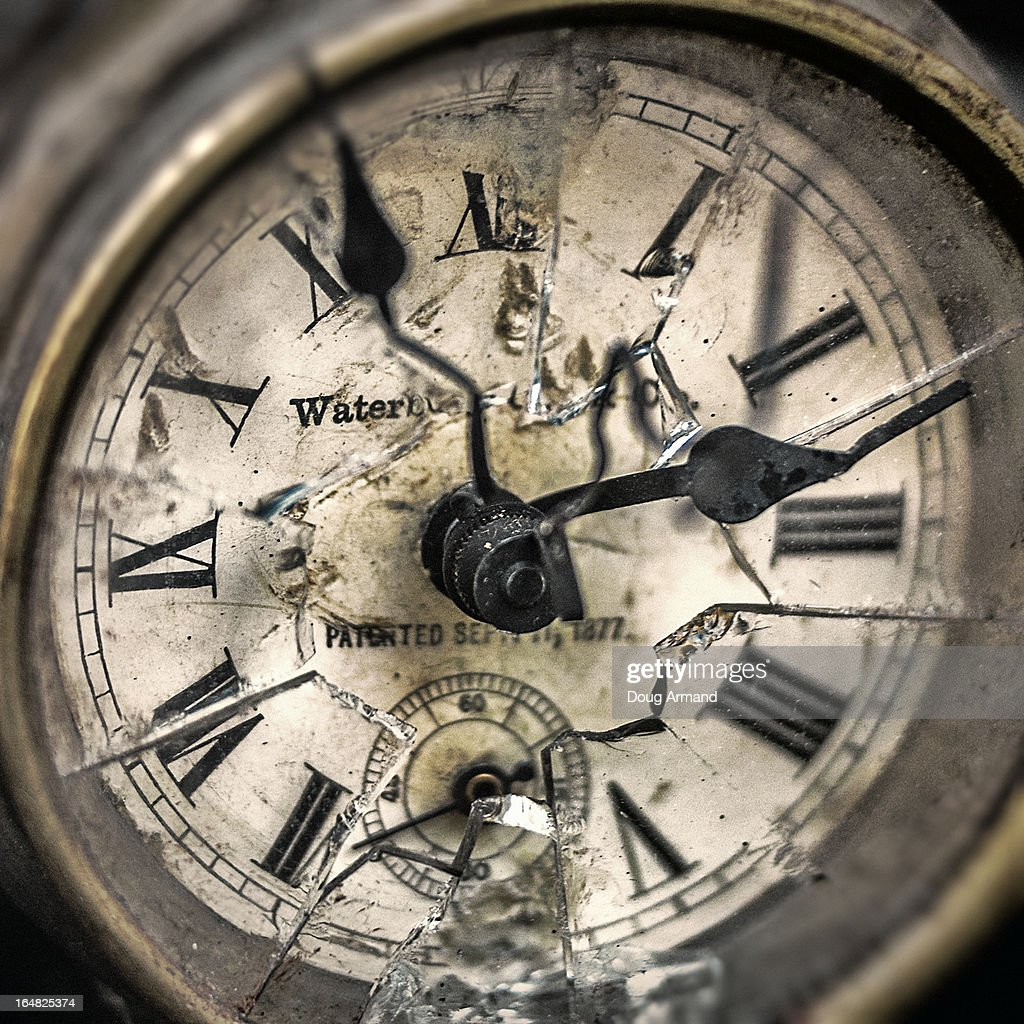 An Old Shattered Clock Face Stock Photo Getty Images