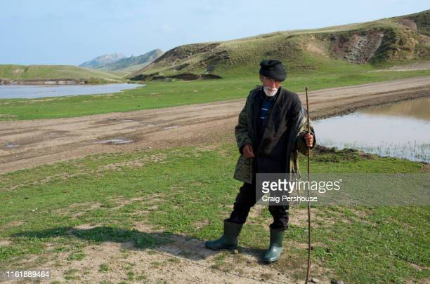 an old shepherd stops to pose for a photo. - georgia country stock pictures, royalty-free photos & images