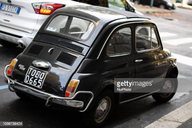 An old small classic Fiat 500 is seen in the capital of Piedmont in Northern Italy