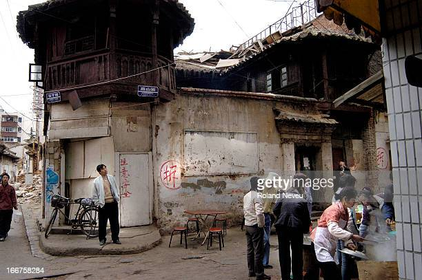 An old street of central Kunming. The area is being destroyed to make place for modern China..