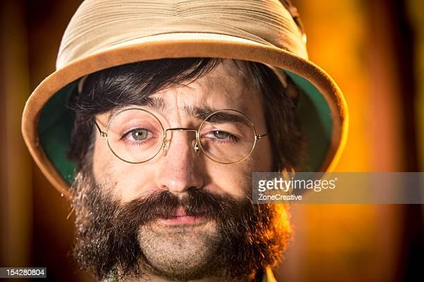 An old time tired explorer or adventurer, portrait