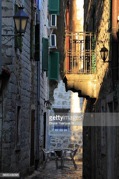 an old town alley - kotor bay stock pictures, royalty-free photos & images