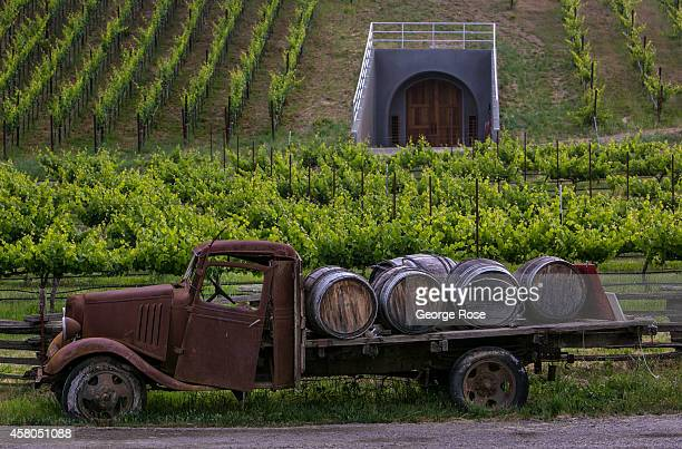 An old truck loaded with wine barrels greets guest at Lazy Creek Vineyard Winery in Mendocino County's Anderson Valley on June 2 near Philo...