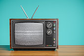 An old TV with a monochrome