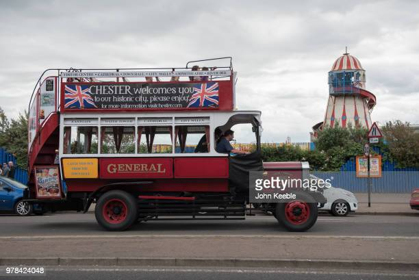 An old vintage double decker bus drives along the seafront during Southend Classic Car Show on June 17 2018 in Southend on Sea England