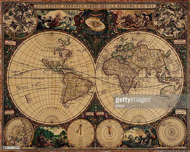 an old vintage map of the world - antique stock pictures, royalty-free photos & images