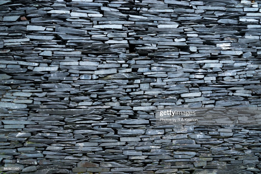 An old wall of Welsh slate : Stock Photo