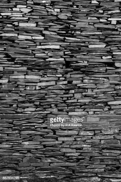 An old wall of Welsh slate