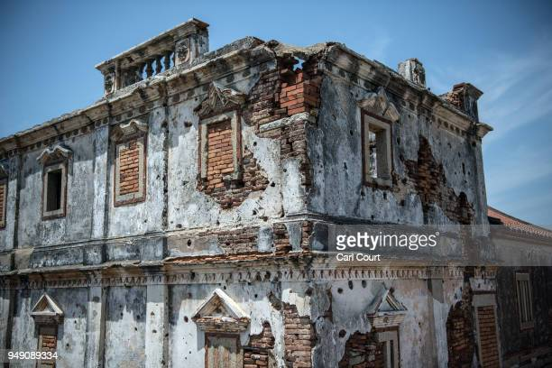 An old Western style house still bears bullet holes and damage from the Battle of Guningtou an attempted invasion of Kinmen by Communist forces in...