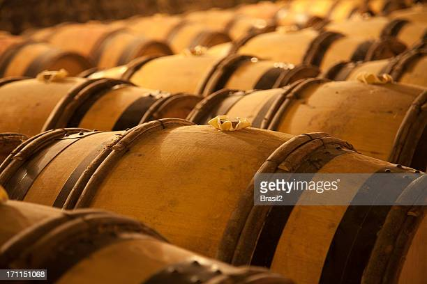 An old wine cellar full of barrels