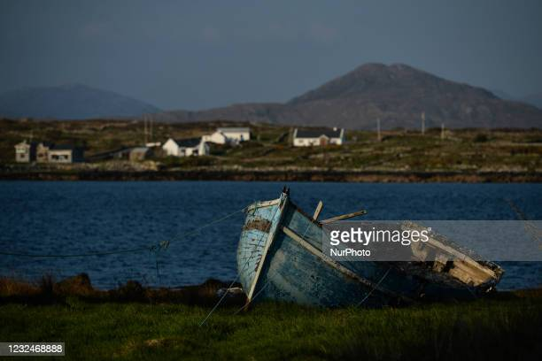 An old wooden boat seen in Roundstone, in Co. Galway. On Thursday, 22 April 2021, in Roundstone, Connemara, County Galway, Ireland.