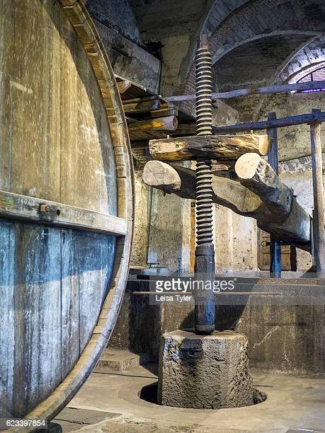 An old wooden wine press at Grazi Wines, one of the new generation of natural wineries working with indigenous grape varieties, outside of...