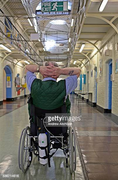 An older disabled prisoner with breathing problems in the Vulnerable Prisoners Unit HMP Wandsworth London United Kingdom