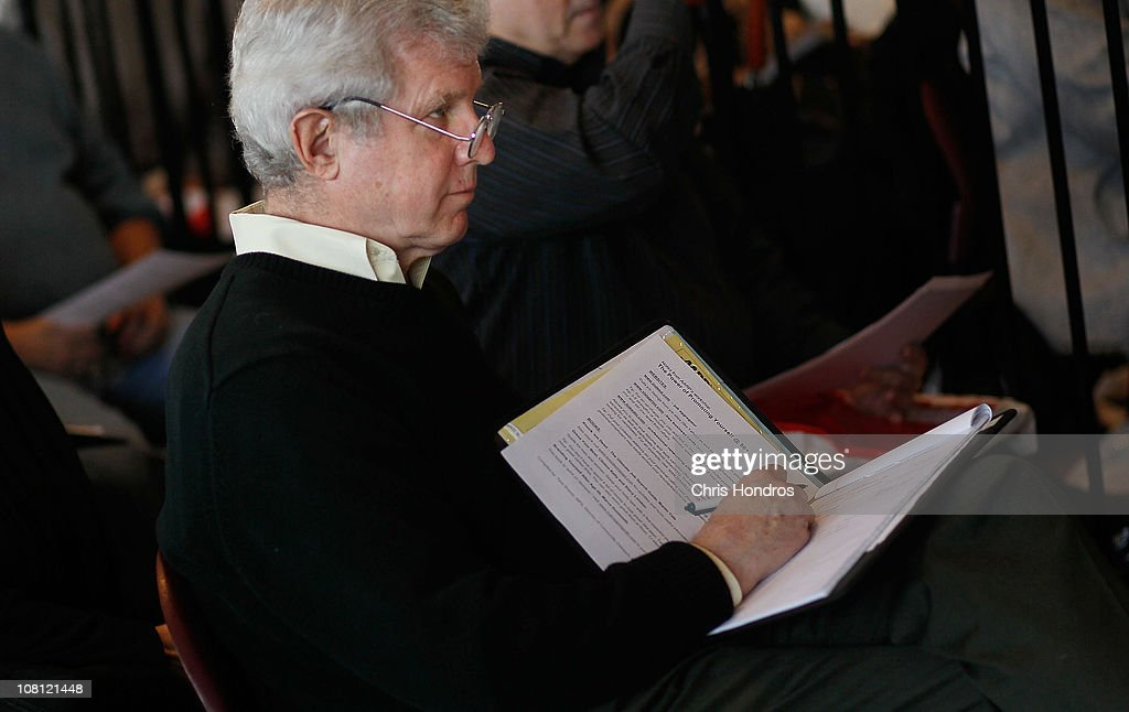 An older job-seeker takes notes during an employment seminar at a 'Work Search' event aimed at older unemployed people January 18, 2011 at a high school gymnasium in the Harlem neighborhood of New York City. The event, sponsored by the American Association of Retired Persons (AARP), consisted of workshops for basic job skills like resume building targeted to an over-50 job seeking demographic. Unemployment for older worker has decreased slightly in the past year, though rates are still three times higher than they were a decade ago, when only 2.5 percent of people over 45 were jobless.