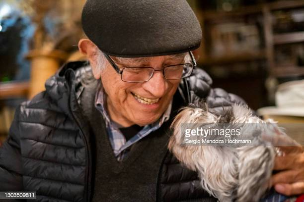 an older mexican man smiles face to muzzle with his miniature schnauzer - schnauzer stock pictures, royalty-free photos & images