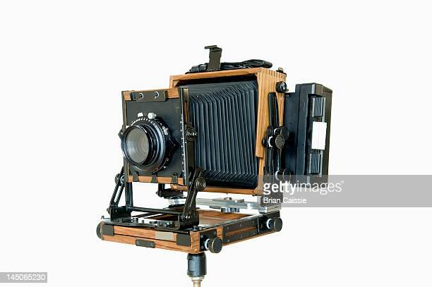 An old-fashioned large format field camera