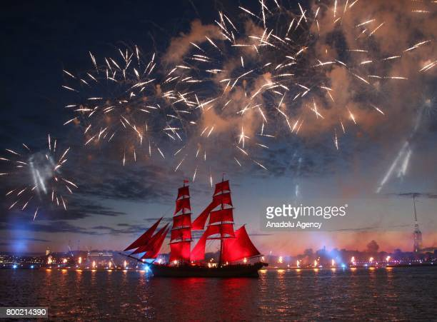 An oldfashioned tall ship sails on the Neva River in St Petersburg early Saturday June 24 2017 Scarlet Sails held within the White Nights Festival in...