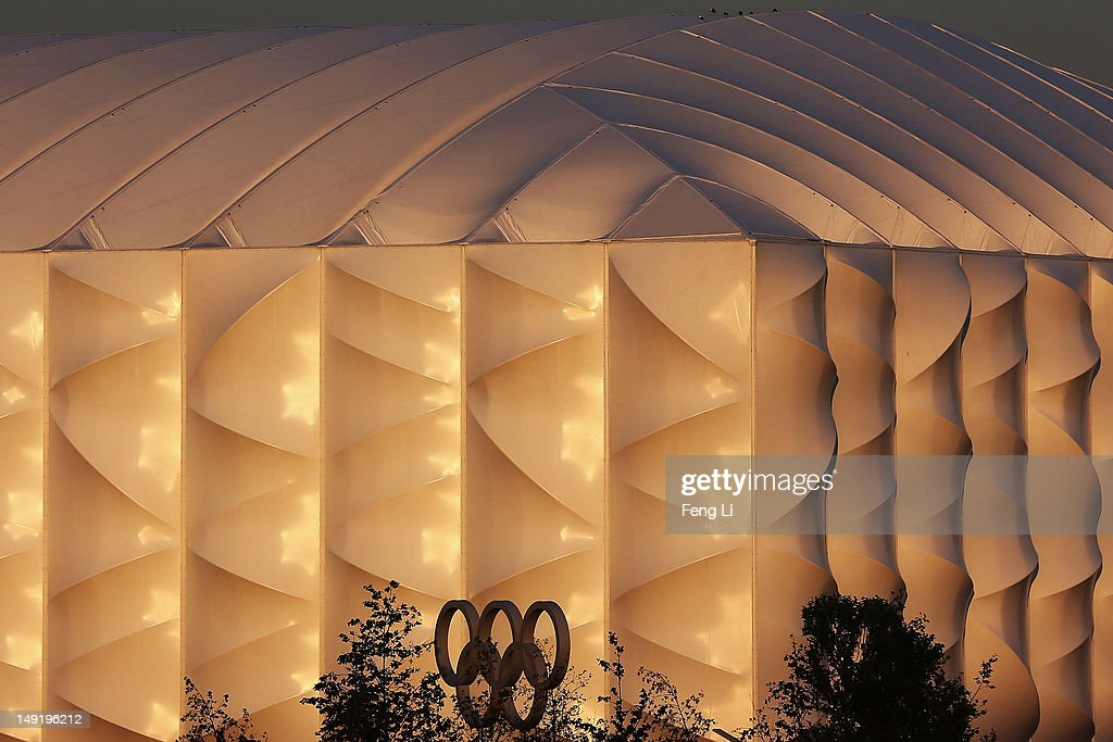 An Olympic ring is seen in front of the Basketball venue during previews ahead of the London Olympic Games at Olympic Park on July 24, 2012 in London, England.