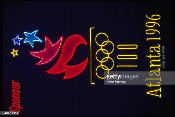 An Olympic sponsor's neon sign bears the 1996 Atlanta Olympics logo Atlanta Georgia
