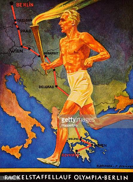 An Olympic torch relay was first introduced in the modern Olympics at the 1936 Games in Berlin This postcard illustration including a torchbearer...