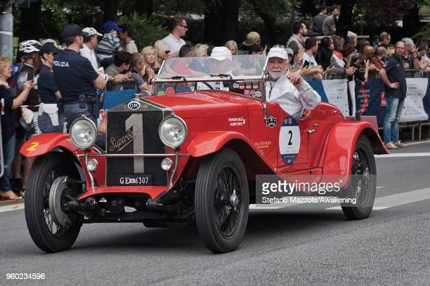 An OM 665 S MM SUPERBA 2000 passes through the city center of Brescia during the last day of the 1000 Miles Historic Road Race during Mille Miglia...